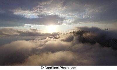 aereo, nubi, sopra, vista