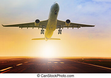 aereo passeggero, fron, prendere, jet, pista, aeroporto, ...