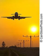 aereo passeggero, tramonto