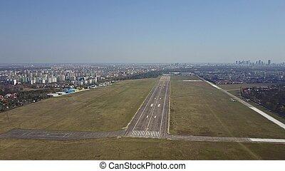 aereo, presa, giorno pieno sole, aeroporto, elica, spento, pista aeroplano, colpo