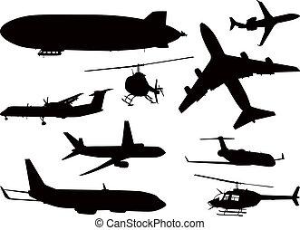 aereo, silhouette, collezione