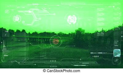 aereo, sorveglianza, monitor