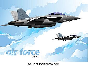 aereo, vettore, combattimento