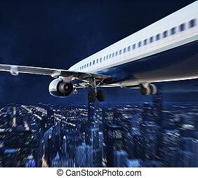 aereo, viaggiare, durante, notte, sopra, città