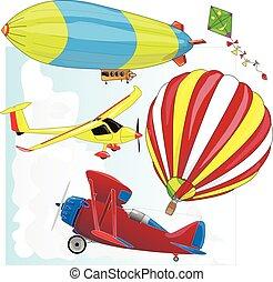 aeri trasporto, vettore, set