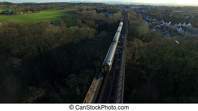 aerial:, τρένο , επάνω , εμπρόσ , αποδιοργανωμένος γέφυρα
