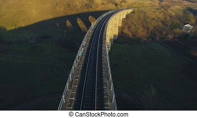 Aerial 4k of the Disused Fleet Viaduct with arches in the...