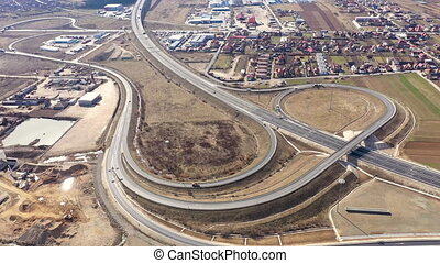 Aerial 4k view of highway intersection from a drone