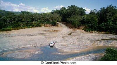 Aerial, 4x4 Offroader In Parque Nacional Corcovado, Costa...