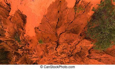 aerial., aérien, bourdon, coup, de, canyon rouge, rochers, dans, mui, ne, vietnam., résumé, arrière-plan orange, pour, texte, ou, titre