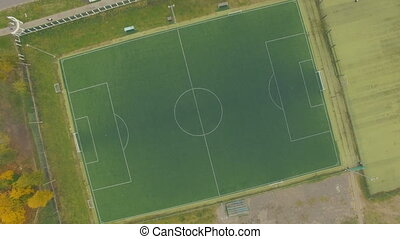 Aerial above empty soccer field