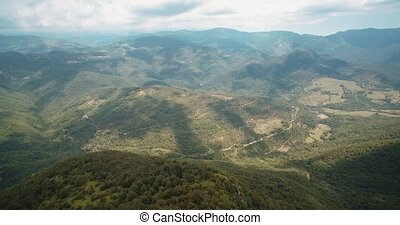 Aerial, Above The Forrests Of The Pyrenees, Spain - graded Version