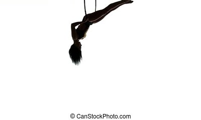 Aerial acrobat woman on circus stage. Silhouette on a white background.