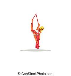 Aerial acrobatics sign. Vector Illustration.