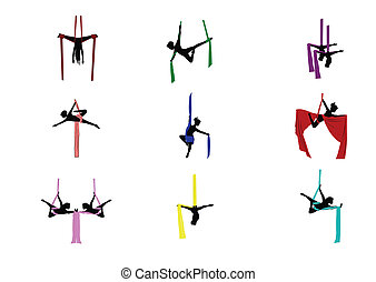 dancers doing acrobats in mid air from silk ties