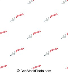 Aerial advertising icon in cartoon style isolated on white background. Advertising symbol stock vector illustration.