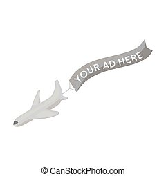 Aerial advertising icon in monochrome style isolated on white background. Advertising symbol stock vector illustration.