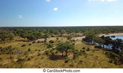 Aerial african river landscape in Nambwa Namibia - Aerial...