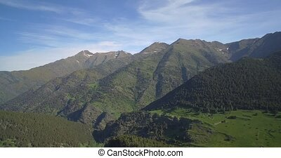 Aerial, Alt Prineu National Park, Pyrenees, Spain - native...