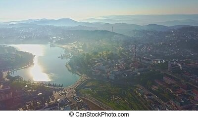 Aerial Amazing Panoramic View Beautiful Lake among Modern City