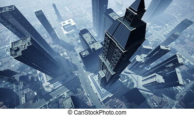 Aerial animation of skyscrapers 4K - Aerial shot of...