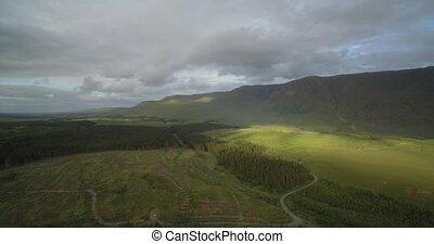 Aerial Around Tawnyard Lough, County Mayo, Ireland - Native...