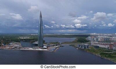Aerial around view of skyscraper in Russia