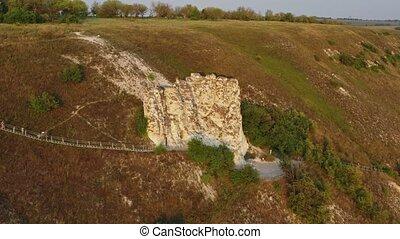 temple in a white chalk rock in Divnogorye - Aerial around ...