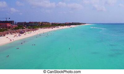 Aerial at Eagle beach on Aruba island in the Caribbean Sea