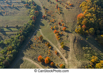 Aerial autumn countryside landscape