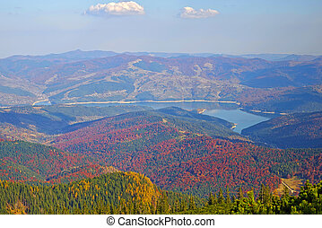 Aerial autumn forest and lake