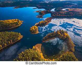 Aerial autumn view of Dringis lake in Lithuania