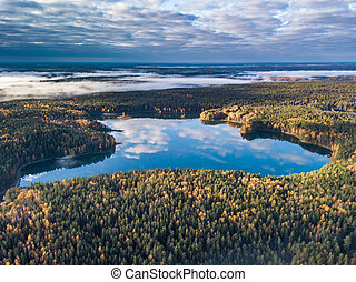 Aerial autumn view of lake in Lithuania