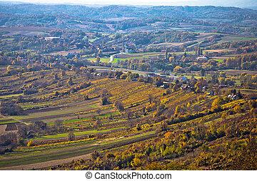 Aerial autumn view of vineyard region of Prigorje, Croatia