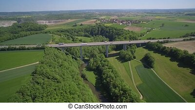 Aerial, Backflight German Autobahn Bridge, Farmland And...