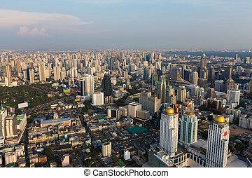 Aerial Bangkok city downtown
