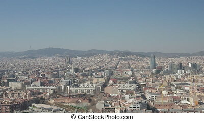 AERIAL: Barcelona Wide Drone Shot of City Towards Center ...