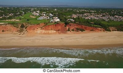 Aerial. Beaches, golf and coasts Vale de Lobo, filmed from the sky