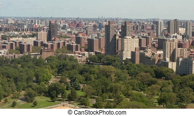AERIAL: Beautiful Central Park view at sunny summer day
