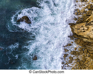 Aerial beautiful rocks and cliffs seascape shore view near ...