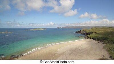 Aerial, Beautiful Scottish Beach At Sangobeg, Scotland -...
