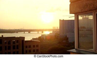 Aerial beautiful sunset view on Novosibirsk city. 3840x2160