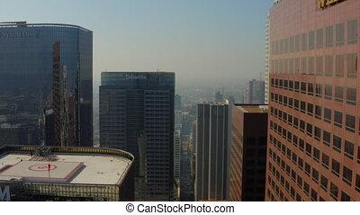 AERIAL: Between Los Angeles Skyscrapers, Daylight