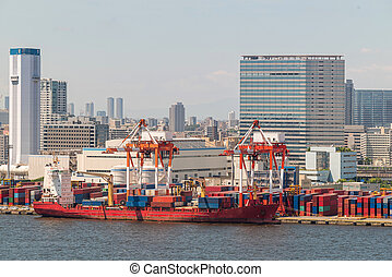 Aerial Big Cargo Containers Boat