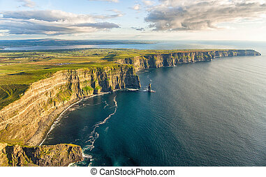Aerial birds eye drone view from the world famous cliffs of...