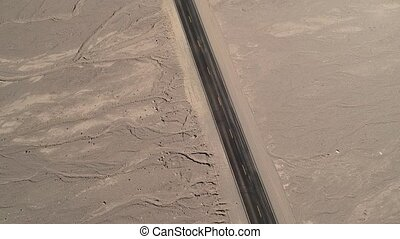 Aerial Birds Eye View of Desert Road - Aerial Birds Eye View...