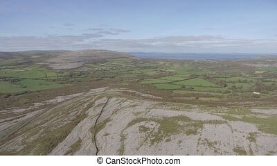 Aerial birds eye view of the burren national park. scenic...