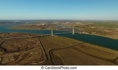 Aerial. Border between Portugal and Spain, river Guadiana....