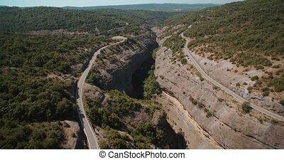 Aerial, Bridge Above De Las Palomeras Gorge, Pyrenees, Spain...