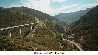 Aerial, Bridge Above Torrent Del Bac Divi, Pyrenees, Spain -...